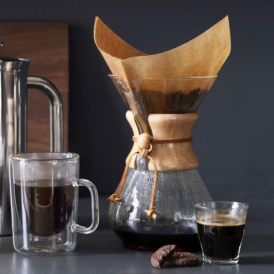 "<p>An ideal gift for anyone who loves coffee, <a href=""http://williams-sonoma.7eer.net/c/249354/265127/4291?subId1=FW%2Ccoffee-gifts-chemex-pour-over-XL-BLOG0719.jpg%2Cmsoll1271%2C%2CIMA%2C1370155%2C201907%2CI,FW&u=https%3A%2F%2Fwww.williams-sonoma.com%2Fproducts%2Fchemex-wood-collar-glass-coffeemaker%2F"" target=""_blank"">the Chemex</a> is a pour over apparatus you'll want to keep on your counter every day. The heat resistant glass is wrapped with a wood collar in the middle, which serves as an insulated handle. There are the traditional 3 cup and 8 cup and 10 cup versions, and Williams Sonoma has the exclusive on the 6 cup edition as well. Choose wisely and pour evenly, folks.</p> <p><strong>Chemex Pour-Over Glass Coffee Maker with Wood Collar, $37-$46 at <a href=""http://williams-sonoma.7eer.net/c/249354/265127/4291?subId1=FW%2Ccoffee-gifts-chemex-pour-over-XL-BLOG0719.jpg%2Cmsoll1271%2C%2CIMA%2C1370155%2C201907%2CI,FW&u=https%3A%2F%2Fwww.williams-sonoma.com%2Fproducts%2Fchemex-wood-collar-glass-coffeemaker%2F"" target=""_blank"">williams-sonoma.com</a></strong></p>"