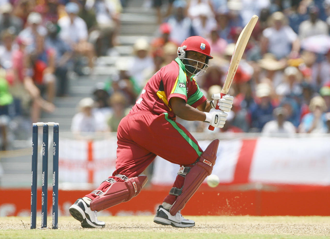 BRIDGETOWN, BARBADOS - APRIL 21:  Brian Lara of West Indies hits out during the ICC Cricket World Cup Super Eights match between West Indies and England at the Kensington Oval on April 21, 2007 in Bridgetown, Barbados.  (Photo by Tom Shaw/Getty Images)