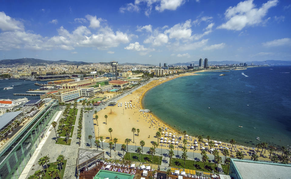 View of Salou Platja Llarga Beach in Spain from the last floor of a coast building in Barcelona