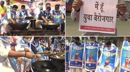 Madhya Pradesh Congress Workers Fry 'Pakoras' in Bhopal as Part of Their Protest Over Unemployment in India; See Pics