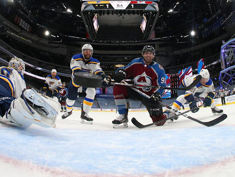 EDMONTON, ALBERTA - AUGUST 02: Nazem Kadri #91 of the Colorado Avalanche reacts as the puck bounces back out of the net for a goal with less than one second remaining in the third period of the Round Robin game against the St. Louis Blues during the 2020 NHL Stanley Cup Playoff at Rogers Place on August 02, 2020 in Edmonton, Alberta. The Avalanche defeated the Blues 2-1. (Photo by Dave Sandford/NHLI via Getty Images)