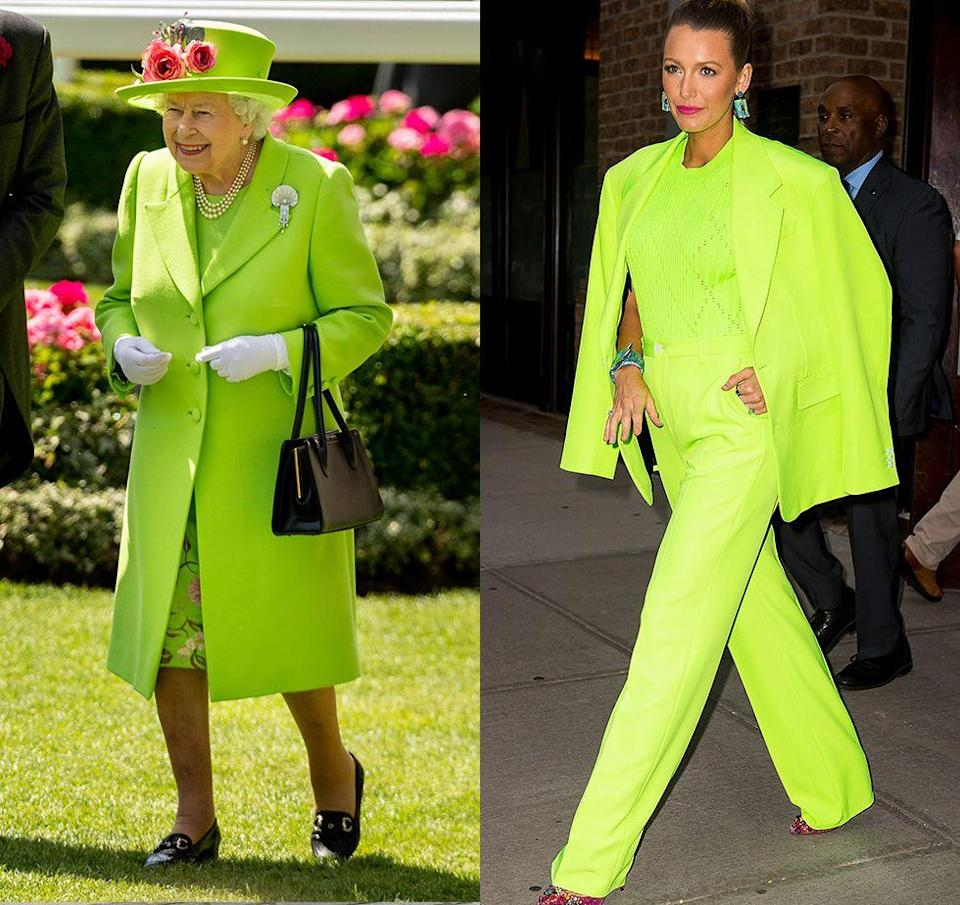 "<p>The Queen is known for her classic style, which often includes <a href=""https://www.townandcountrymag.com/style/fashion-trends/a21931287/queen-elizabeth-fashion-bright-colors/"" rel=""nofollow noopener"" target=""_blank"" data-ylk=""slk:bright monochrome looks"" class=""link rapid-noclick-resp"">bright monochrome looks</a>, but the neon green coat she wore to a garden party in 2018 was one of her boldest outfits to date. Clearly, Blake Lively got the memo, as she stepped out in New York a few months later dressed in a head-turning neon green suit. </p>"