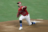 Los Angeles Angels starting pitcher Andrew Heaney throws to the plate against the Seattle Mariners during the first inning of a baseball game in Anaheim, Calif., Friday, Aug. 28, 2020. (AP Photo/Alex Gallardo)