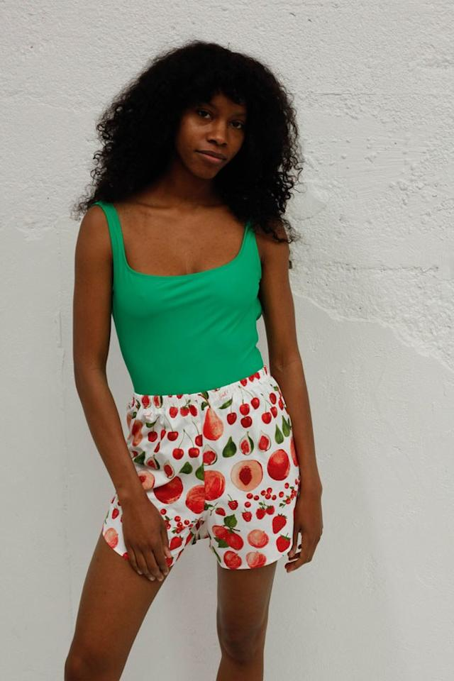"""$58, Lisa Says Gah. <a href=""""https://lisasaysgah.com/collections/clothing/products/copy-of-capri-short-fruit-print"""">Get it now!</a>"""