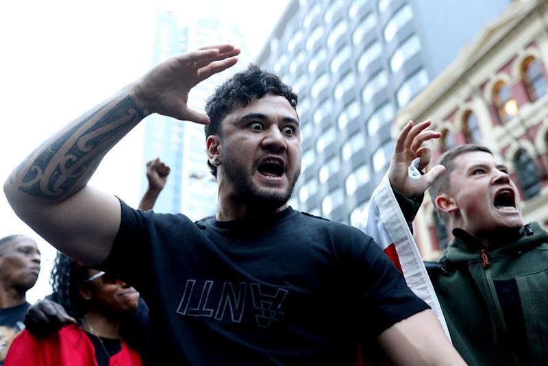 Protesters perform a haka after marching down Queen Street i Auckland this week amid global protests against racism. Source: Getty