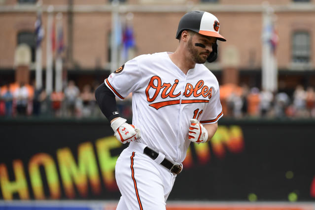 Baltimore Orioles' Trey Mancini rounds the bass after hitting solo home run in the first inning of an interleague baseball game against the San Francisco Giants, Sunday, June 2, 2019, in Baltimore. (AP Photo/Tommy Gilligan)