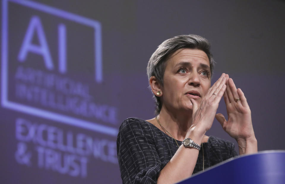 European Commissioner for Europe fit for the Digital Age Margrethe Vestager speaks during a media conference on an EU approach to artificial intelligence, following a weekly meeting of EU Commissioners, at EU headquarters in Brussels, Wednesday, April 21, 2021. (Olivier Hoslet, Pool via AP)