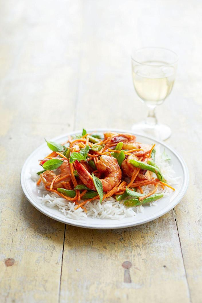 """<p>Next time you're scrambling to put a meal together for the whole family, consider making this sweet-and-spicy dish; it's ready in mere minutes.</p><p><a href=""""https://www.goodhousekeeping.com/food-recipes/a15706/thai-shrimp-green-bean-curry-recipe-ghk0214/"""" rel=""""nofollow noopener"""" target=""""_blank"""" data-ylk=""""slk:Get the recipe for Thai Shrimp and Green Bean Curry »"""" class=""""link rapid-noclick-resp""""><em>Get the recipe for Thai Shrimp and Green Bean Curry »</em></a></p>"""