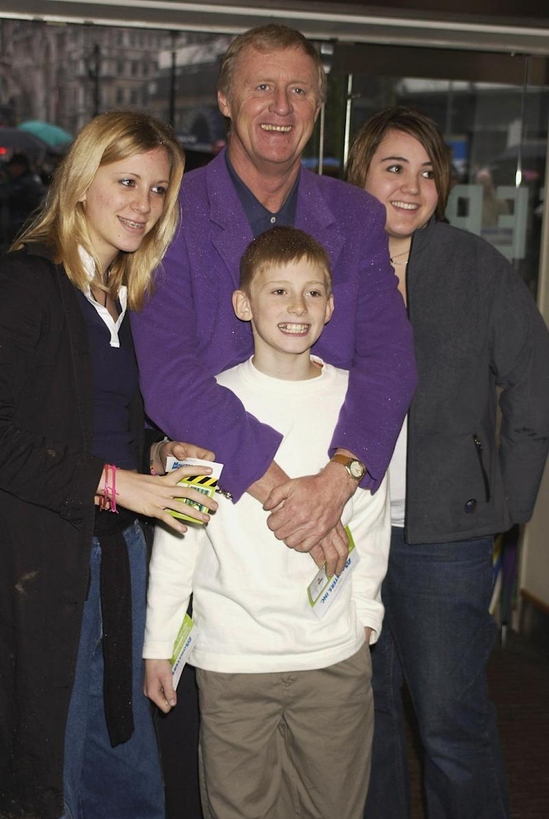 LONDON - JANUARY 27: TV presenter, Chris Tarrant with his children at the UK premiere of Disney Pixar's 'Monsters Inc.' held at the Odeon cinema Leicester Square on 27th January 2002, in London. (Photo by Dave Benett/Getty Images).