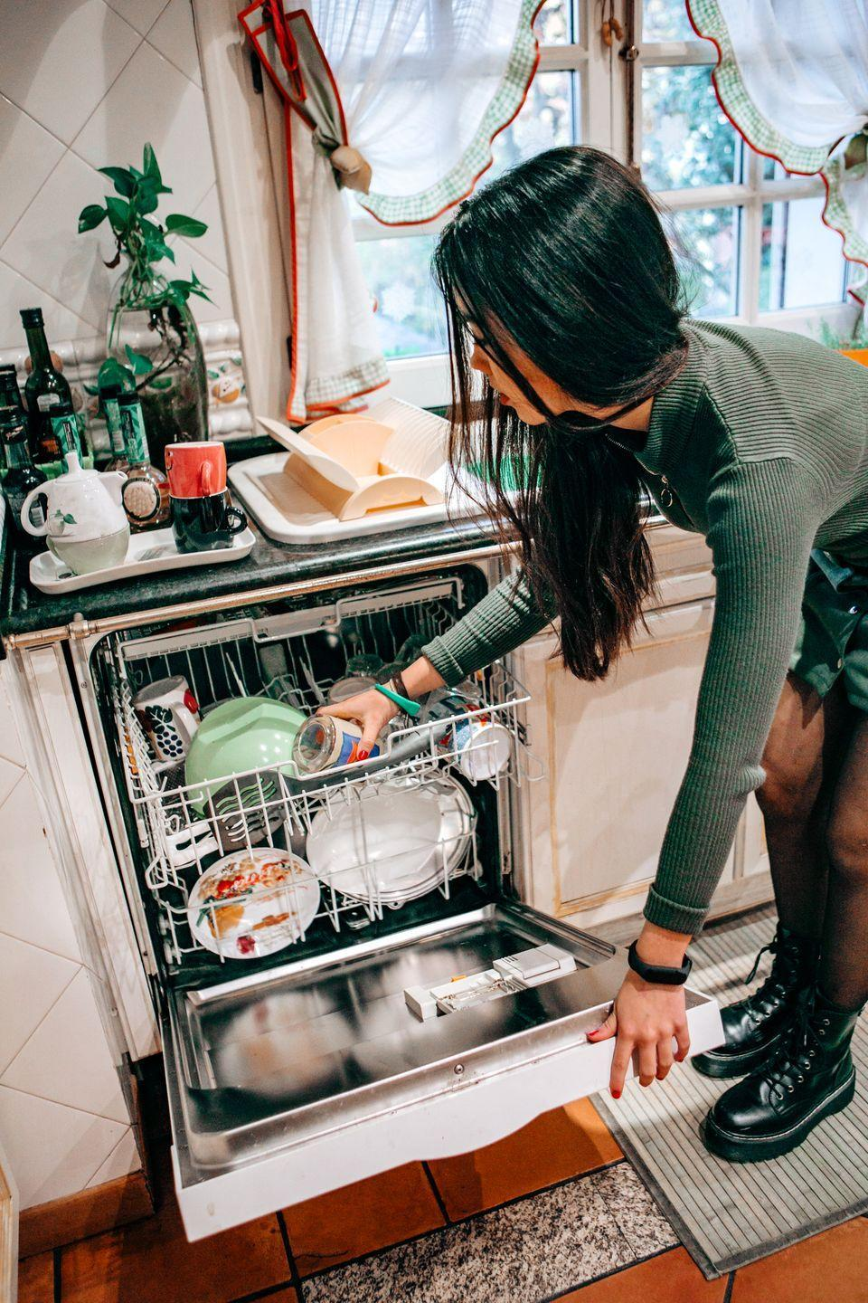 "<p>If you want your dishwasher to do its job properly, you're going to want to get rid of the food debris and detergent residue that builds up over time. Use dishwasher cleaning tablets with surfactants to dissolve all of those gross left-behind dregs. After you empty your dishwasher, run it with <a href=""https://www.amazon.com/Finish-Dual-Action-Dishwasher-Cleaner/dp/B010OVNPEW?tag=syn-yahoo-20&ascsubtag=%5Bartid%7C1782.g.33584458%5Bsrc%7Cyahoo-us"" rel=""nofollow noopener"" target=""_blank"" data-ylk=""slk:Finish Dual Action Dishwasher Cleaner"" class=""link rapid-noclick-resp"">Finish Dual Action Dishwasher Cleaner</a>,<a href=""https://www.amazon.com/Affresh-W10282479-Dishwasher-Cleaner-Tablets/dp/B002R0DXQE/?tag=syn-yahoo-20&ascsubtag=%5Bartid%7C1782.g.33584458%5Bsrc%7Cyahoo-us"" rel=""nofollow noopener"" target=""_blank"" data-ylk=""slk:Affresh Dishwasher Cleaner"" class=""link rapid-noclick-resp""> Affresh Dishwasher Cleaner</a> or for really stubborn grease and residue, <a href=""https://www.amazon.com/Miele-Dishwasher-Tabs-3X20-count/dp/B00LAK1MGU/?tag=syn-yahoo-20&ascsubtag=%5Bartid%7C1782.g.33584458%5Bsrc%7Cyahoo-us"" rel=""nofollow noopener"" target=""_blank"" data-ylk=""slk:Miele Dishwasher Tabs"" class=""link rapid-noclick-resp"">Miele Dishwasher Tabs</a>.</p>"