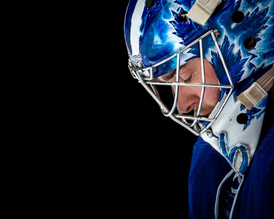 TORONTO, ON - MAY 8: Jack Campbell #36 of the Toronto Maple Leafs looks on against the Montreal Canadiens during the first period at the Scotiabank Arena on May 8, 2021 in Toronto, Ontario, Canada. (Photo by Kevin Sousa/NHLI via Getty Images)