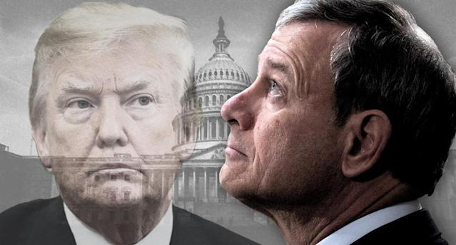 President Trump and Chief Justice John Roberts. (Photo illustration: Yahoo News; photos: AP, Jabin Botsford/Pool via Getty Images, J. Scott Applewhite/AP)