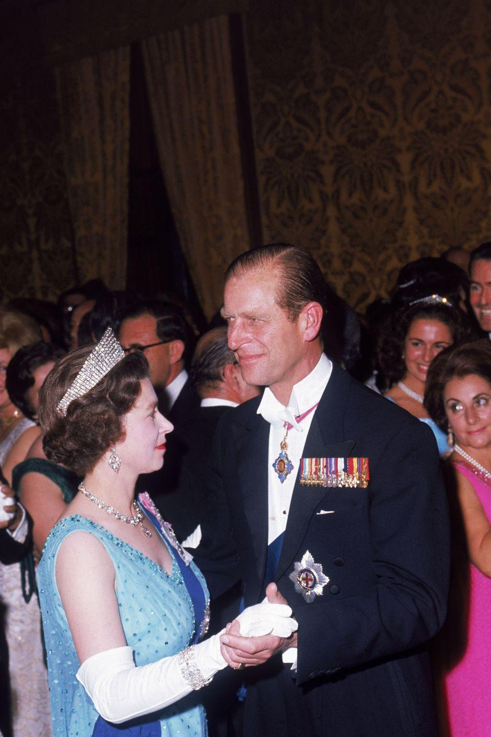<p>Queen Elizabeth and Prince Philip share a dance at a state ball at the palace in Valetta during a royal visit to Malta in the Fall of 1967.</p>
