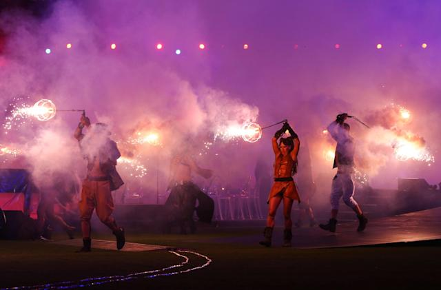 LONDON, ENGLAND - SEPTEMBER 09: Smoke and flames fill the arena during the closing ceremony on day 11 of the London 2012 Paralympic Games at Olympic Stadium on September 9, 2012 in London, England. (Photo by Peter Macdiarmid/Getty Images)