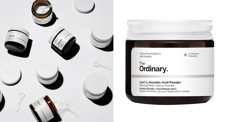 jars of the ordinary vitamin c powder on white and grey backgrounds