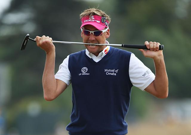 GULLANE, SCOTLAND - JULY 21: Ian Poulter of England bites his putter after missing a birdie putt on the 1st green during the final round of the 142nd Open Championship at Muirfield on July 21, 2013 in Gullane, Scotland. (Photo by Andy Lyons/Getty Images)