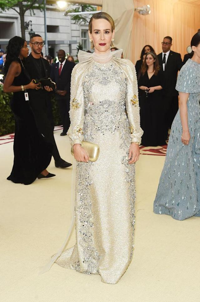 <p>Sarah Paulson in Prada. (Photo: Getty Images) </p>