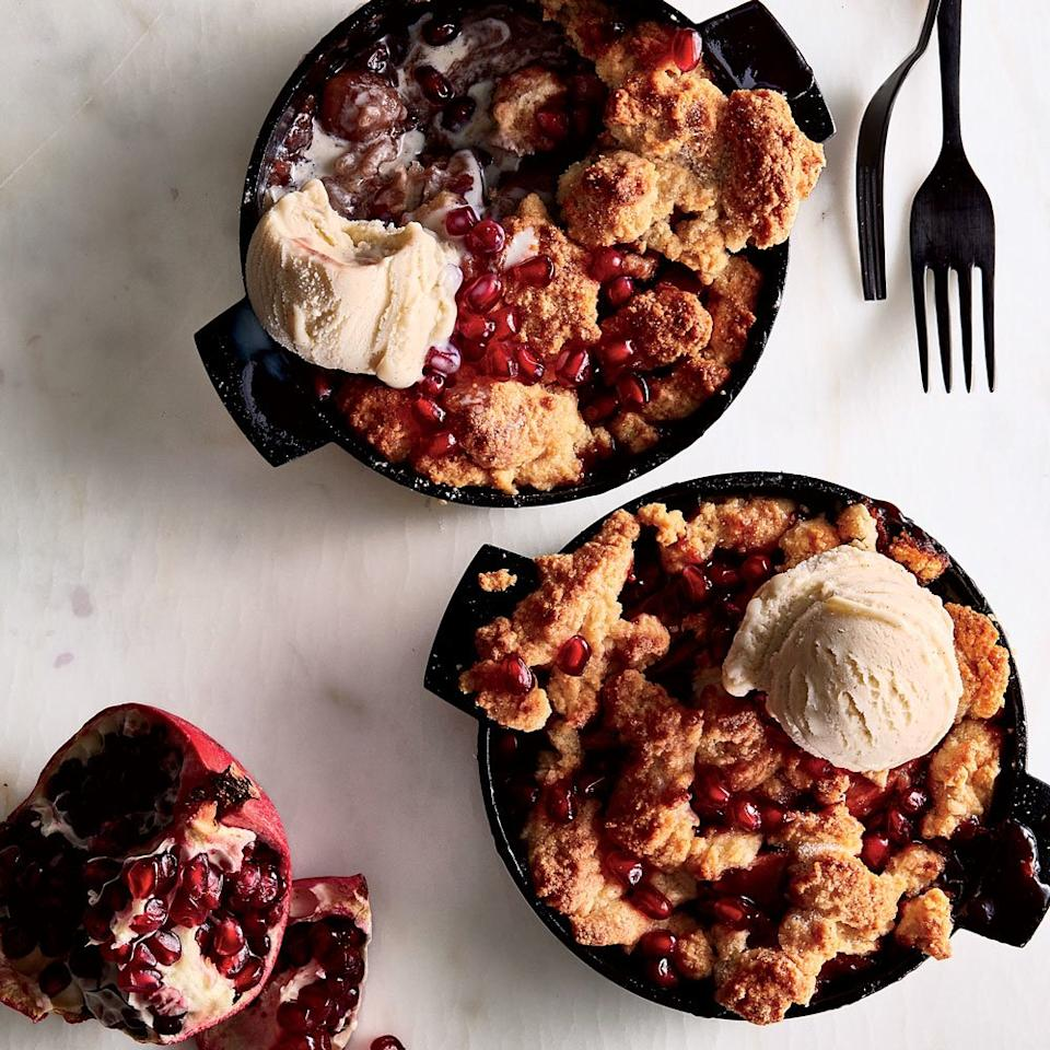"<p>This juicy and bright apple cobbler is just the right amount of sweet, with an irresistibly tender and crunchy crust on top.</p><p><a href=""https://www.foodandwine.com/recipes/apple-pomegranate-cobbler"">GO TO RECIPE</a></p>"
