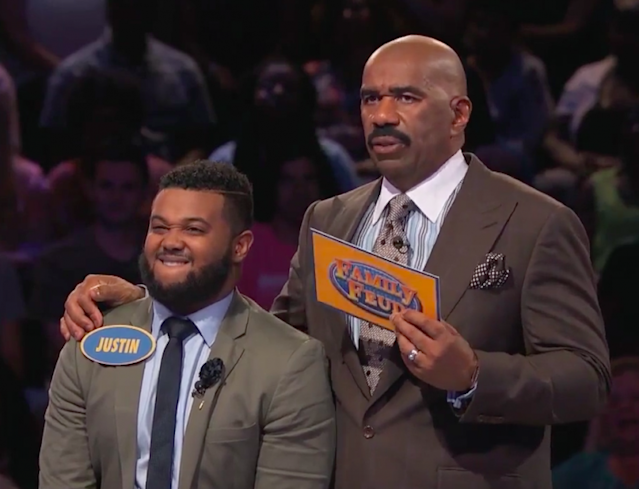 Contestant Justin didn't seem too confident in his answers playing Fast Money on <em>Family Feud</em>. (Photo: Family Feud)