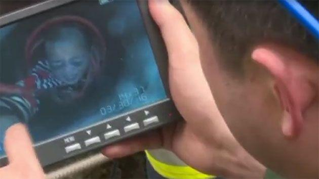 Emergency services were forced to inject oxygen into the hole and used a special device to pinpoint the boy's location - uncovering that he was, in fact, stuck more than 11 metres beneath the surface. Photo: CCTV News
