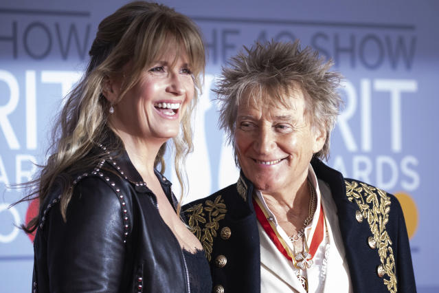 Rod Stewart and Penny Lancaster at the Brit Awards 2020 (Vianney Le Caer/Invision/AP)