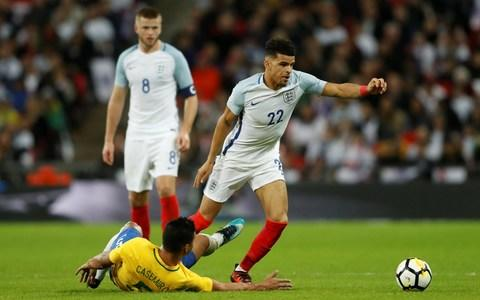 <span>England want to see a lot more of Solanke in the national side - here he is making his debut at Wembley against Brazil last November</span> <span>Credit: Action Images via Reuters </span>