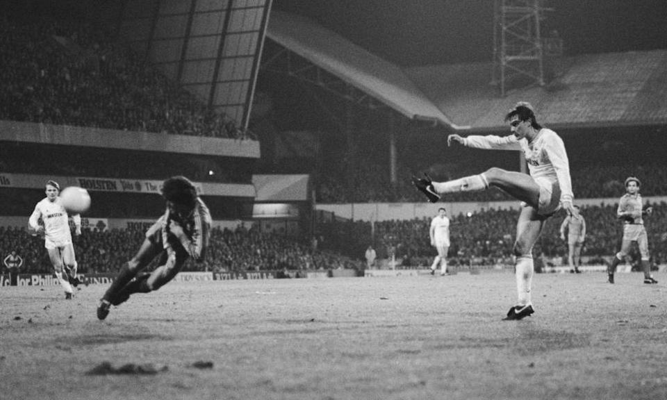 Glenn Hoddle in action for Spurs in the Uefa Cup against Real Madrid in March 1985.