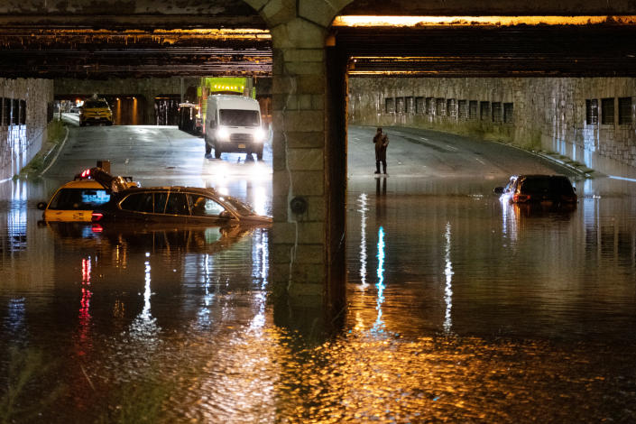 A flooded underpass on Queens Boulevard in New York after torrential rains from storms precipitated by Hurricane Ida, Sept. 2, 2021. (Dakota Santiago/The New York Times)