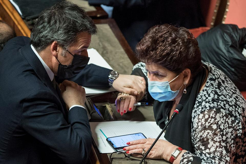 ROME, ITALY - JANUARY 19: Teresa Bellanova of Italia Viva party and Matteo Renzi attend the communications on the current political situation at the Italian Senate before the confidence vote, on January 19, 2021 in Rome, Italy. Following the resignation of two ministers in Conte's coalition government over a dispute on spending of EU funds during the pandemic, the Italian government is on the verge of another crisis. (Photo by AM POOL/Roberto Monaldo/Getty Images) (Photo: AM POOL via Getty Images)