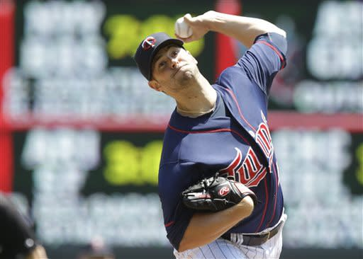Minnesota Twins pitcher Scott Diamond throws against the Cleveland Indians in the first inning of a baseball game on Sunday, July 21, 2013, in Minneapolis. (AP Photo/Jim Mone)