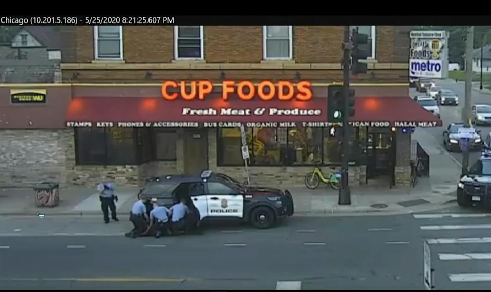 <p>Police surveillance footage of George Floyd's arrest last may.</p> (City of Minneapolis via CourtTV)