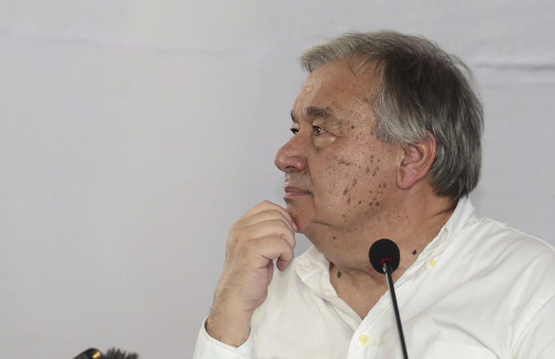 """FILE - In this file photo dated Monday, June 2, 2018, U.N. Secretary General Antonio Guterres gestures as he addresses a press conference at the Kutupalong refugee camp in Cox's Bazar district, Bangladesh. Guterres said Monday that he heard """"unimaginable accounts of killing and rape"""" from Rohingya refugees who have fled from Myanmar to Bangladesh since last August to escape violence.  Sexual violence carried out by Myanmar's security forces against the country's Muslim Rohingya minority was so widespread and severe that it demonstrates intent to commit genocide as well as warrants prosecution for war crimes and crimes against humanity, according to a U.N. report released Thursday Aug. 22, 2019. (AP Photo, FILE)"""