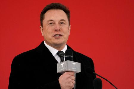 FILE PHOTO: Tesla CEO Elon Musk attends the Tesla Shanghai Gigafactory groundbreaking ceremony in Shanghai, China January 7, 2019. REUTERS/Aly Song/File Photo
