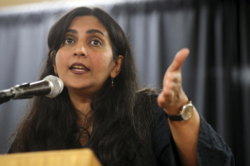 Seattle City Council District 3 incumbent candidate Kshama Sawant speaks to her supporters, Tuesday, Nov. 5, 2019, at the Langston Hughes Cultural Arts Center, in Seattle. (Genna Martin/seattlepi.com via AP)
