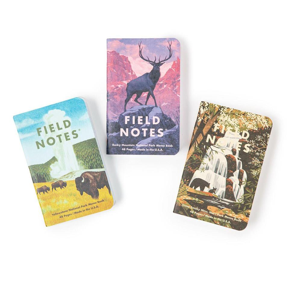 """<p><strong>Field Notes</strong></p><p>uncommongoods.com</p><p><strong>$13.00</strong></p><p><a href=""""https://go.redirectingat.com?id=74968X1596630&url=https%3A%2F%2Fwww.uncommongoods.com%2Fproduct%2Fnational-parks-notebooks-set-of-3&sref=https%3A%2F%2Fwww.countryliving.com%2Fshopping%2Fgifts%2Fg2077%2Fchristmas-presents%2F"""" rel=""""nofollow noopener"""" target=""""_blank"""" data-ylk=""""slk:Shop Now"""" class=""""link rapid-noclick-resp"""">Shop Now</a></p><p>The perfect logbooks for keeping notes on your next national park adventure.</p>"""