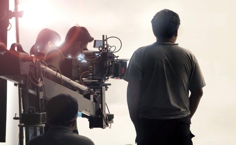 Camera crew at work on a set.
