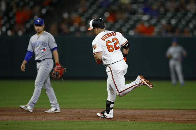 Baltimore Orioles' DJ Stewart rounds the bases on a solo home run, past Toronto Blue Jays third baseman Aledmys Diaz during the third inning of a baseball game Wednesday, Sept. 19, 2018, in Baltimore. (AP Photo/Patrick Semansky)