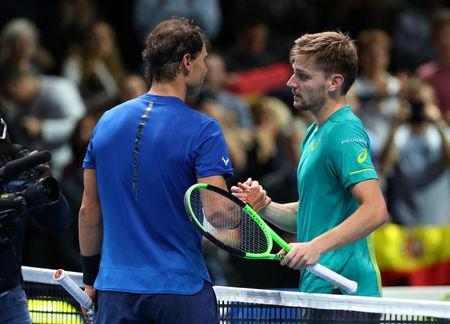 Tennis - ATP World Tour Finals - The O2 Arena, London, Britain - November 13, 2017 Spain's Rafael Nadal shakes the hands of Belgium's David Goffin after their group stage match REUTERS/Hannah McKay