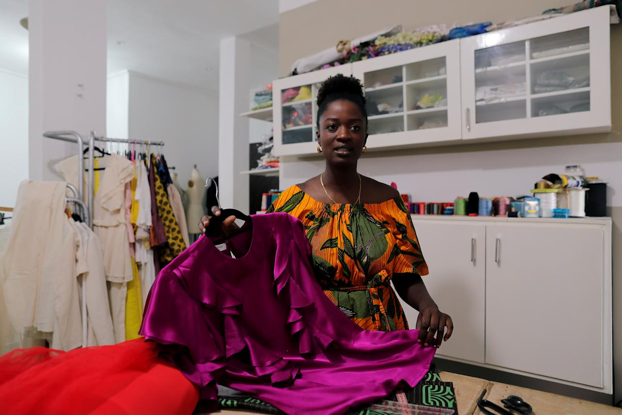 Sophie Zinga, a fashion designer is pictured at her workshop in Dakar, Senegal February 13, 2019.  Zinga is hoping the next president will do more to empower women, train youths and boost the creative industry to turn Dakar into the fashion hub of West Africa. Picture taken February 13, 2019 REUTERS/ Zohra Bensemra