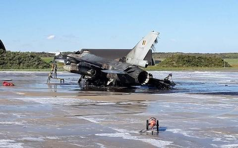 <span>A maintenance worker accidentally fired a 20mm Vulcan cannon from an F-16 jet he was working on at Belgium's Florennes Air Force Base </span> <span>Credit: Scramble Magazine </span>