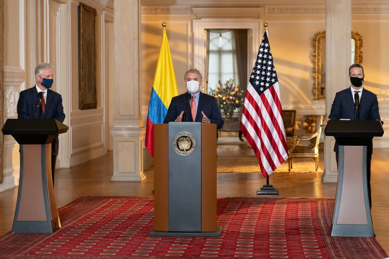 Colombian President Ivan Duque Marquez, wearing a face mask due to the ongoing coronavirus disease (COVID-19) outbreak, speaks during an address after a meeting with United States government officials, at the Presidential Palace in Bogota
