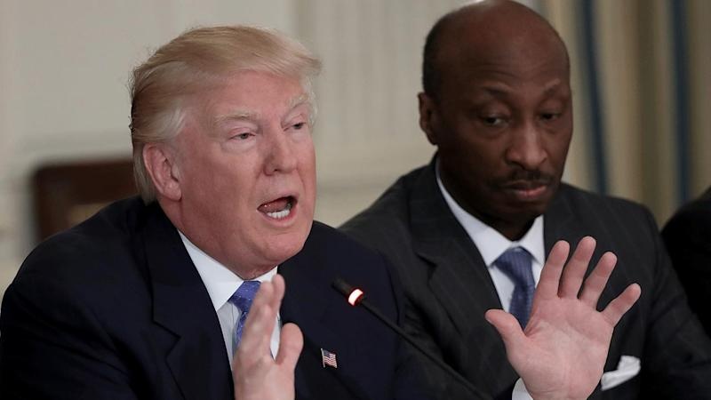 President Donald Trump and Merck CEO Kenneth Frazier