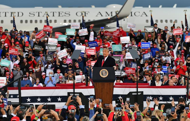 US President Donald Trump's rally in Fayetteville on Saturday (Anadolu Agency via Getty Images)