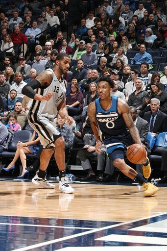 MINNEAPOLIS, MN - JANUARY 18: Jeff Teague #0 of the Minnesota Timberwolves handles the ball during the game against LaMarcus Aldridge #12 of the San Antonio Spurs on January 18 2019 at Target Center in Minneapolis, Minnesota. (Photo by Jordan Johnson/NBAE via Getty Images)