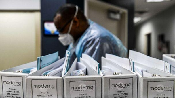 PHOTO: Biotechnology company Moderna protocol files for COVID-19 vaccinations are kept at the Research Centers of America in Hollywood, Fla., on August 13, 2020. (Chandan Khanna/AFP via Getty Images)