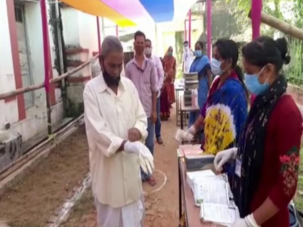 Visual from a polling booth in Balasore on Tuesday. (Photo/ANI)