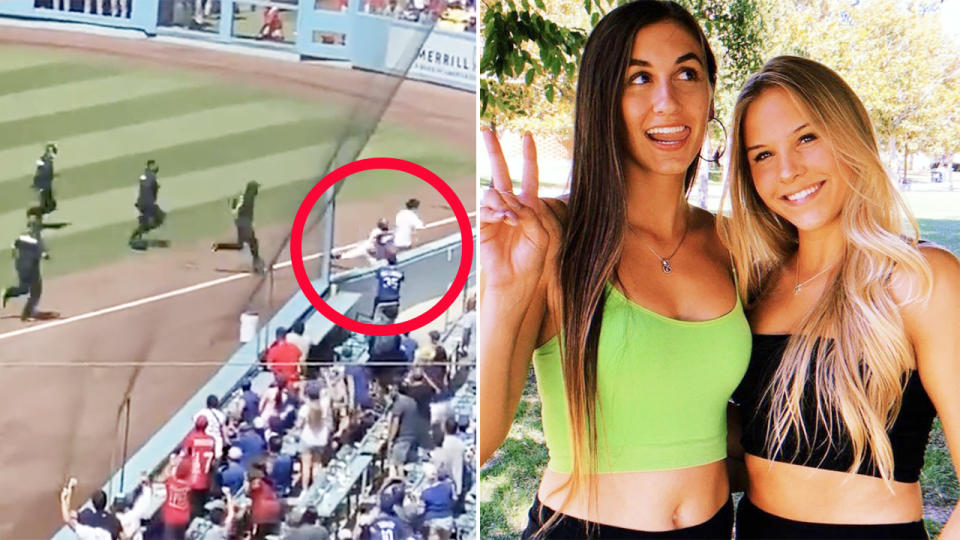 Marissa Rohan, pictured here taking down the pitch invader at Dodger Stadium.