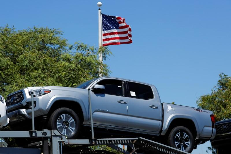 Toyota trucks are shown on a car carrier for delivery after arriving in the United States in National City, California, U.S. June 27, 2018. REUTERS/Mike Blake