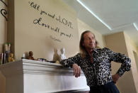 """Paul Raci, an Oscar nominee for best supporting actor for his performance in """"Sound of Metal,"""" poses for a portrait at his home, Thursday, April 8, 2021, in Burbank, Calif. (AP Photo/Chris Pizzello)"""