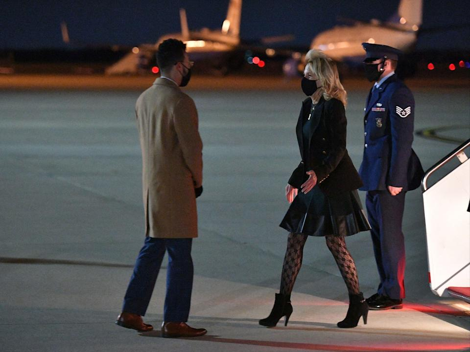Jill Biden addresses controversy over her 'fishnet' stockings (POOL/AFP via Getty Images)